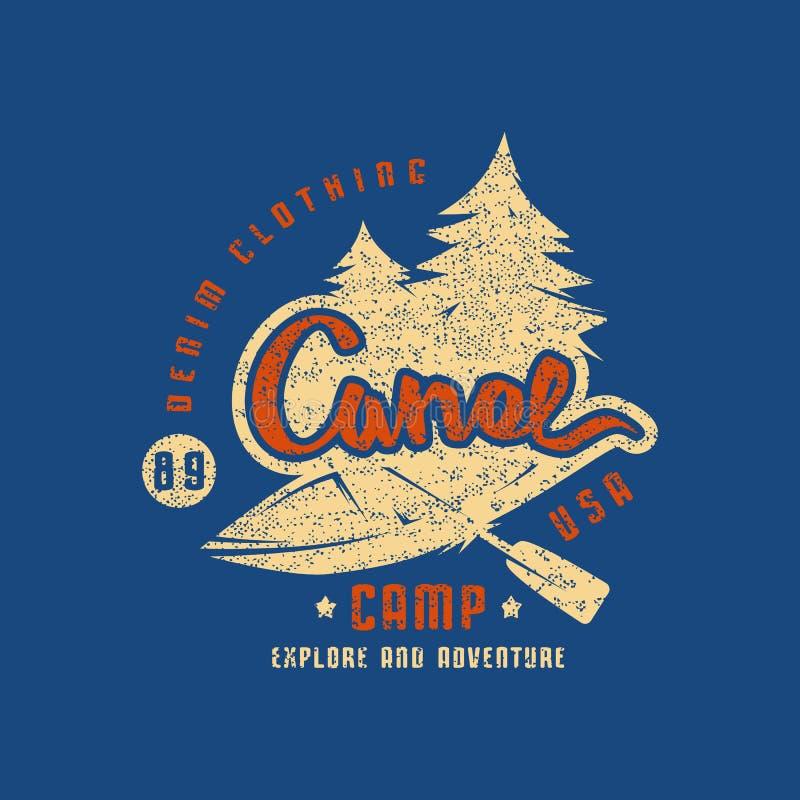 Canoe camp emblem for t-shirt royalty free illustration