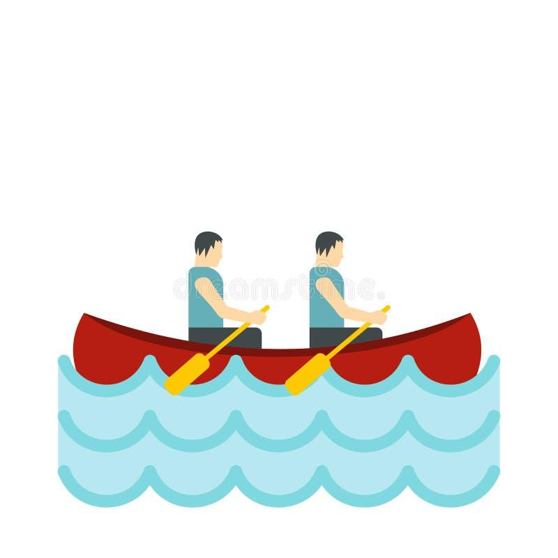 Canoe com ícone de dois atletas, estilo liso ilustração royalty free
