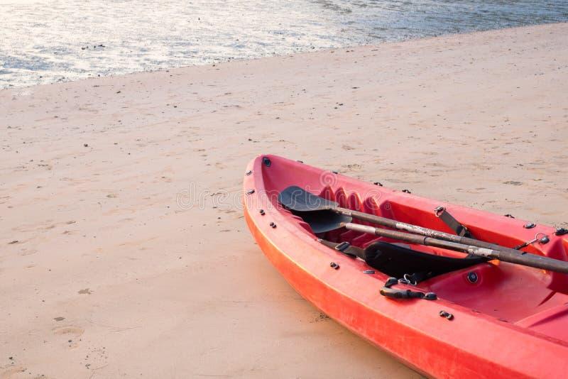 Canoe con la pagaia ed il giubbotto di salvataggio sulla spiaggia nel tramonto fotografia stock libera da diritti