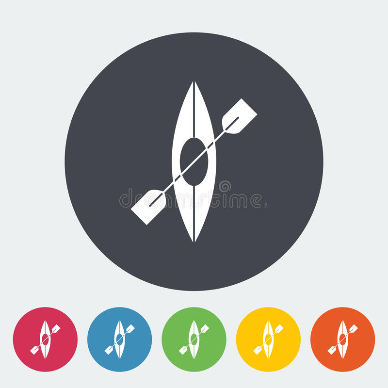 Canoe icon. Canoe. Single flat icon on the circle. Vector illustration royalty free illustration