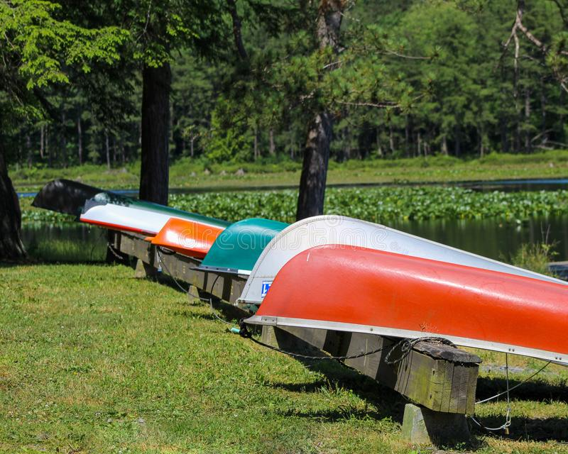 Canoe and kayaks line up near water at Black Moshannon State Park, Pennsylvania royalty free stock photography