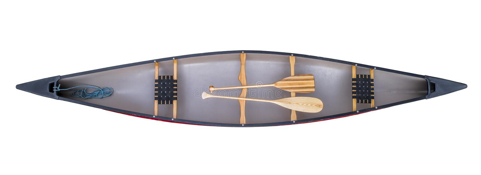 Canoe with paddles - top view stock images