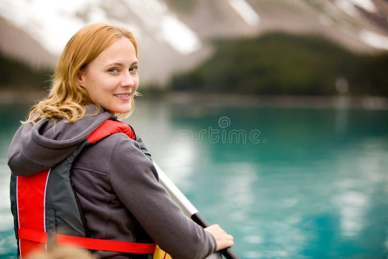 Canoe Portrait Woman royalty free stock image