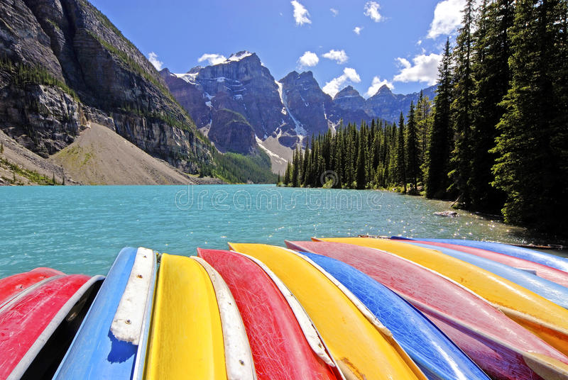 Canoe for rent in lake louise. Canada royalty free stock photos