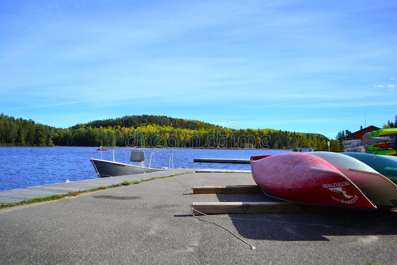 Canoe rental on autumn lake in Algonquin Park.Ontario, Canada, October stock images