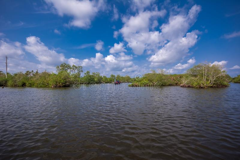 Canoe ride through backwater canals in Munroe Island royalty free stock photography