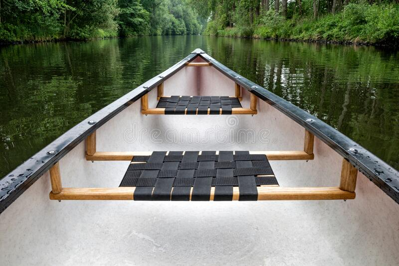 Canoe on a river stock photography