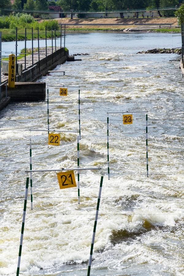 Canoe slalom course with gate numbers, Troja, Prague, Czech Republic stock photo