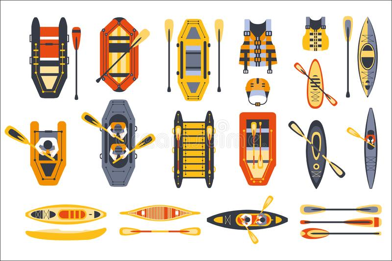 Canoe Sport Equipment Set Flat Simplified Cartoon Style Bright Color Vector Illustration On White Background. vector illustration
