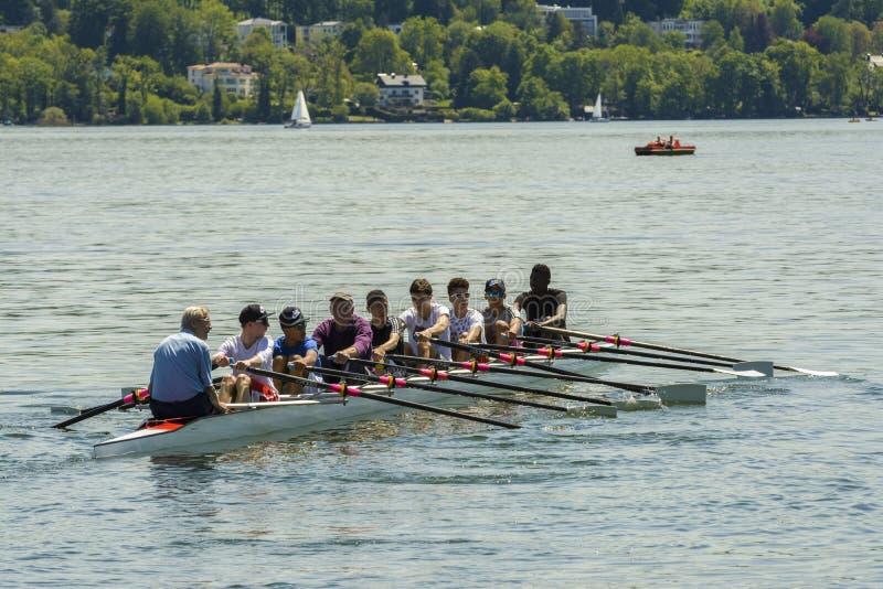 Canoe on Starnberger lake, Germany royalty free stock photo