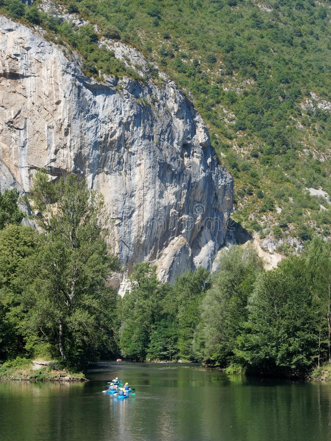 Canoeing the Ariege river, french pyrenees. Canoeing the Ariege river in summer, french pyrenees stock images