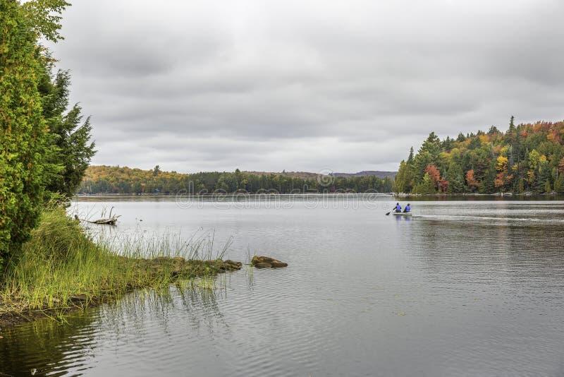 Canoeing auf einem See im Herbst - Algonquin-provinzieller Park, Ontari stockbild