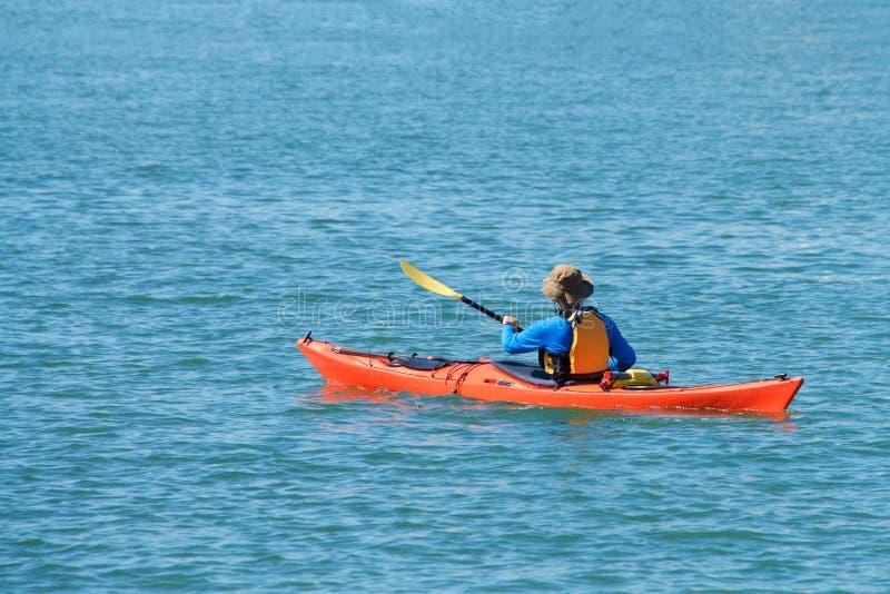 Canoeing in de baai stock fotografie