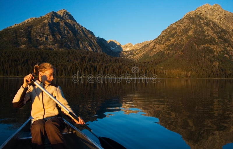 Download Canoeing In The Grand Teton Stock Image - Image: 9898453