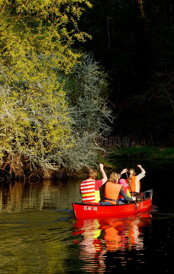 Canoeing on a River stock photo