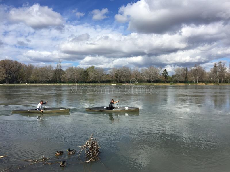 Canoeing the River Rhone, ducks in foreground royalty free stock photos
