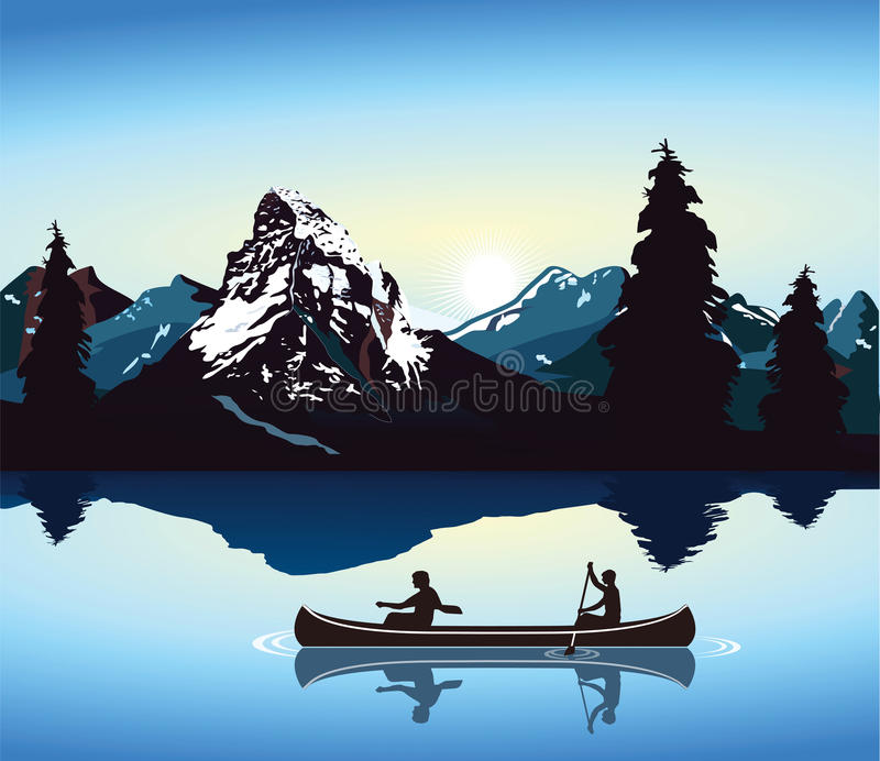 Canoeing und Gebirgslandschaft lizenzfreie abbildung