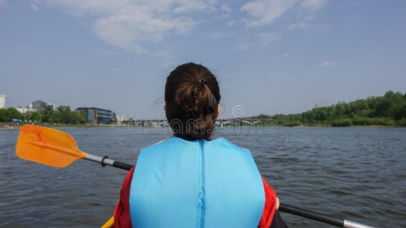 Canoeing on Vistula river during the sunny day royalty free stock photography