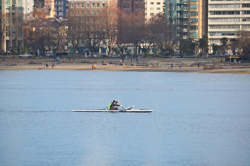 Download Canoeist Paddles On English Bay Editorial Photo - Image: 83722441