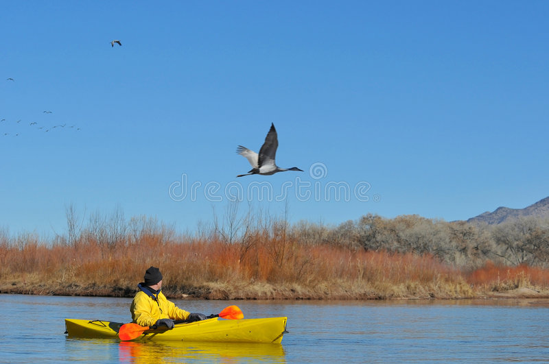 Canoeist On Scenic Lake Royalty Free Stock Images