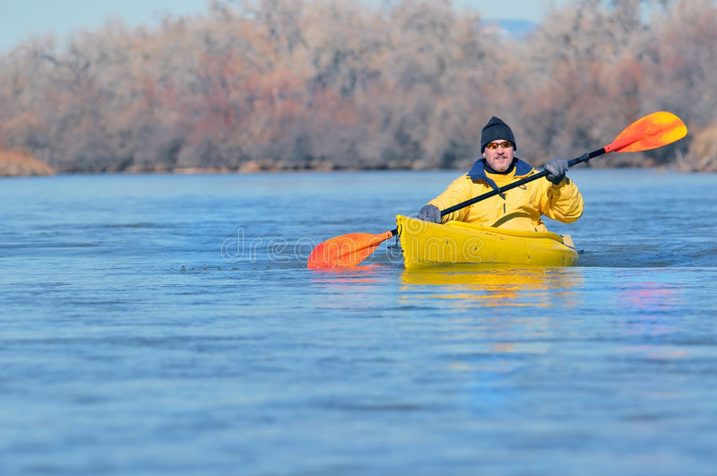Download Canoeist on scenic river stock image. Image of adult, background - 7825495