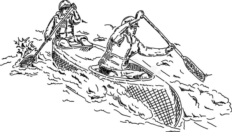 canoeists δύο ελεύθερη απεικόνιση δικαιώματος