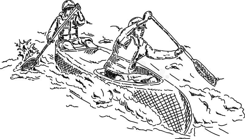 canoeists två royaltyfri illustrationer