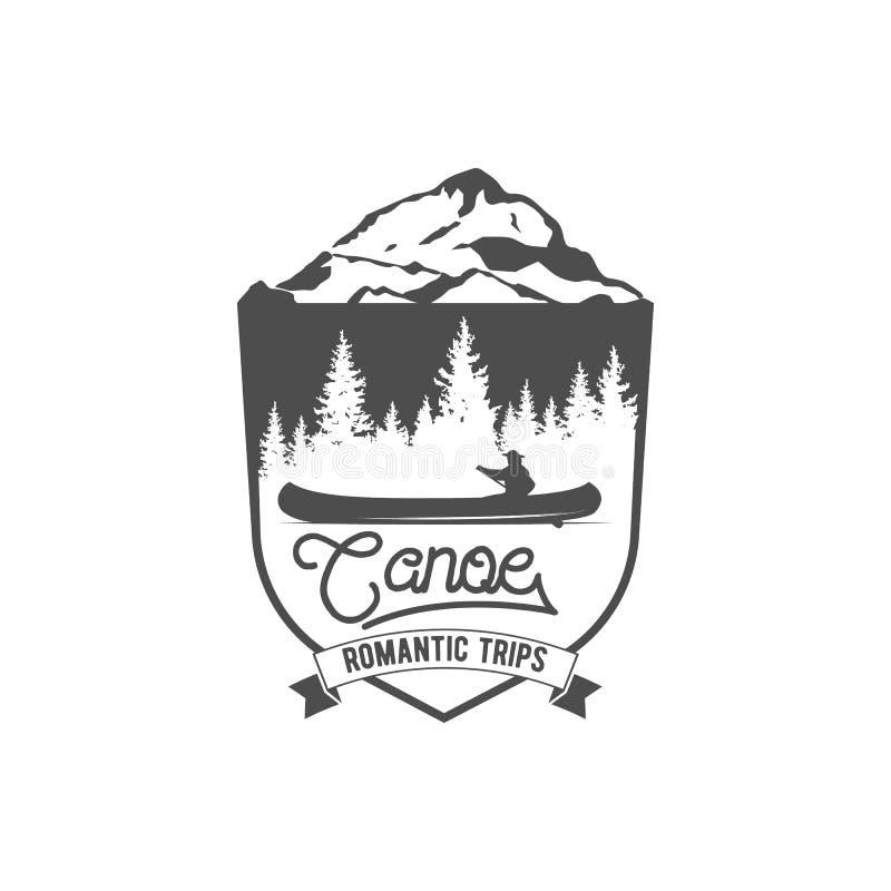 Canoel förser med märke, logoen, etiketter och designbeståndsdelar royaltyfri illustrationer