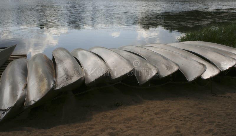 Canoes aside stock image