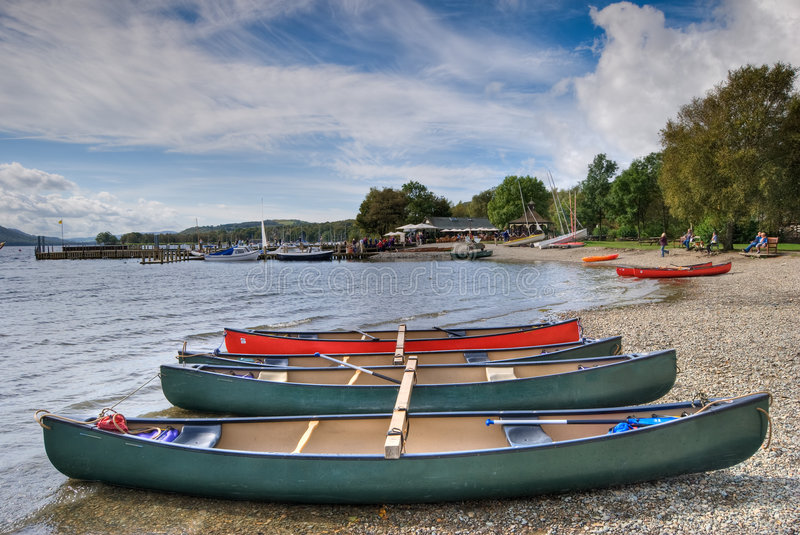 Canoes on Coniston water stock images