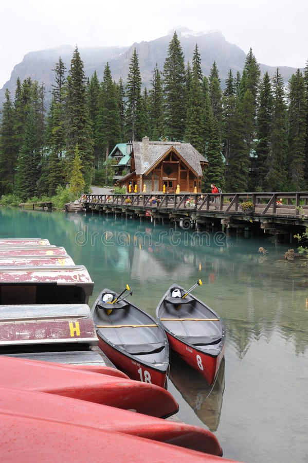 Download Canoes on Emerald Lake stock image. Image of attraction - 23815409