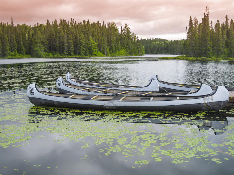 Canoes floating on a peaceful lake, Quebec, Canada. Canoes floating on a peaceful lake at sunset, Quebec, Canada stock photos