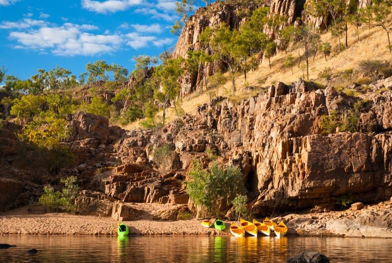 Canoes in Katherine Gorge. Canoes in the stunning Katherine Gorge, Nitmiluk National Park, Northern Territory, Australia royalty free stock photo