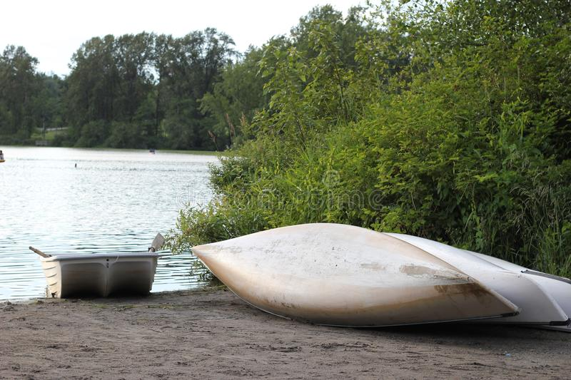 Canoes at the Lake stock images