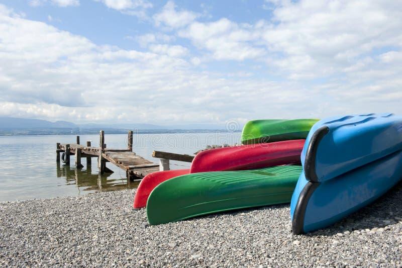 Download Canoes at Lake Leman stock photo. Image of water, beach - 14854624