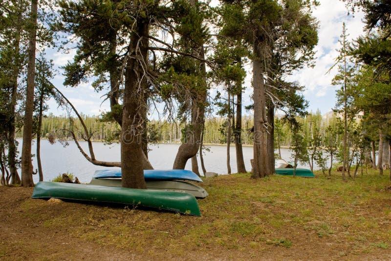 canoes le bord de lac retourné photos libres de droits