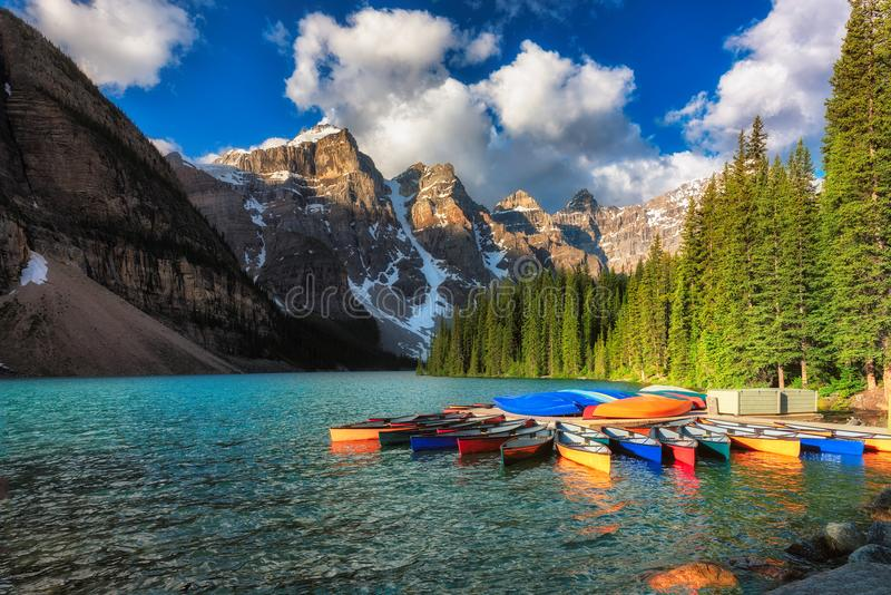 Canoes on Moraine lake, Banff national park in the Rocky Mountains, Alberta, Canada. royalty free stock images