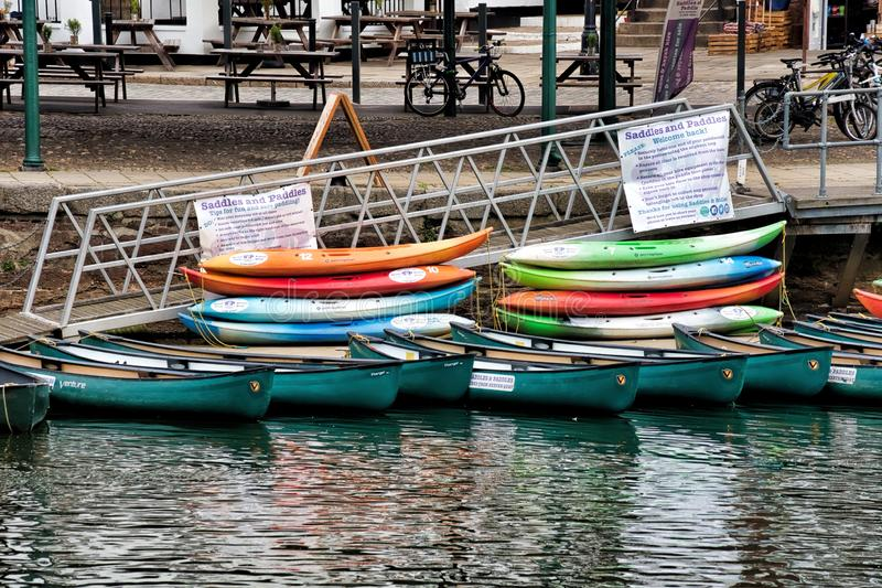 Canoes for Rent At Exeter Quays stock images