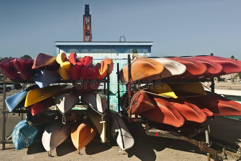 Canoes on the Santa Cruz Wharf royalty free stock photography