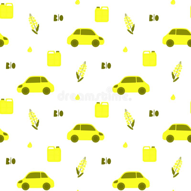 Canola blomma Rapsfröväxt och olja Eco transport Biodiesel vektor illustrationer