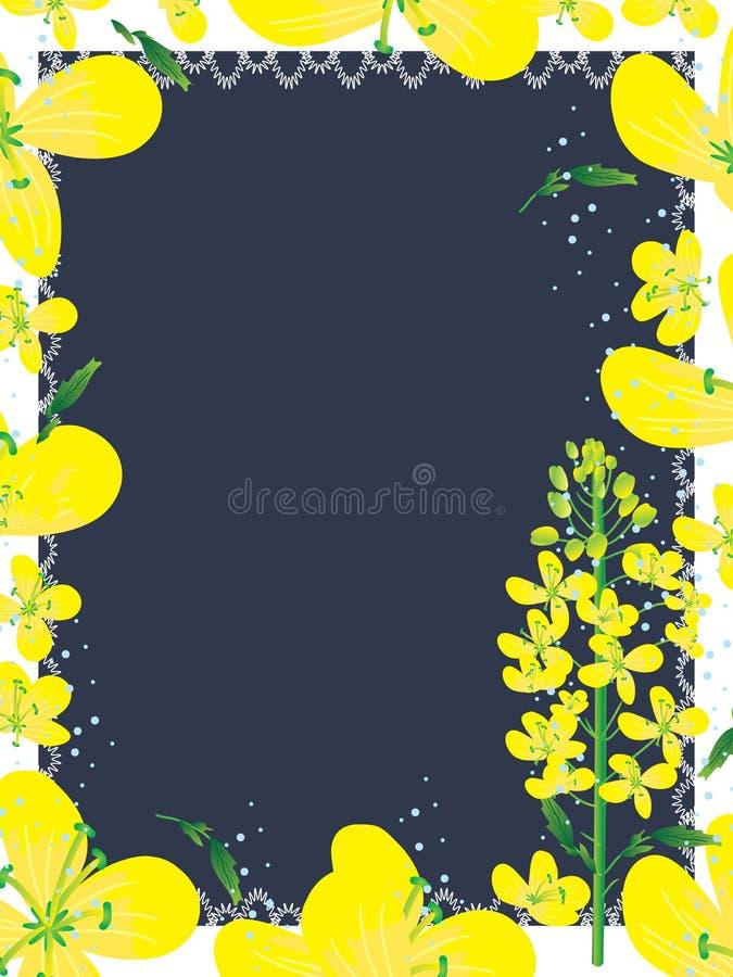 Canola blommar Frame_eps vektor illustrationer