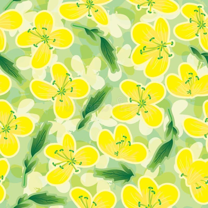 Canola blommar Seamless Pattern_eps royaltyfri illustrationer
