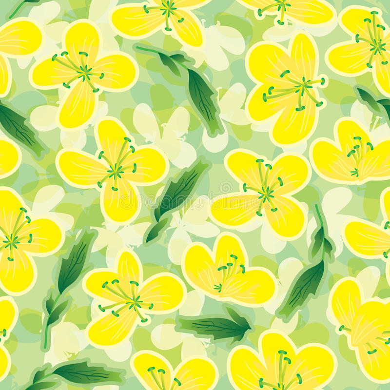 Free Canola Flowers Seamless Pattern_eps Royalty Free Stock Photography - 28686657