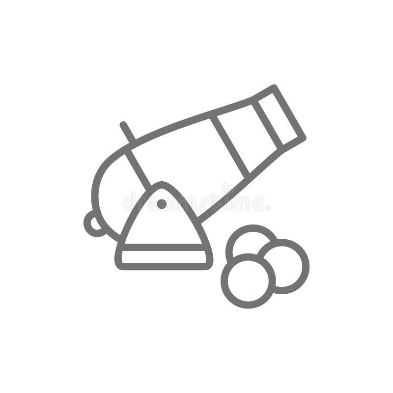 Canon, arme à feu d'artillerie, ligne antique icône d'arme illustration stock