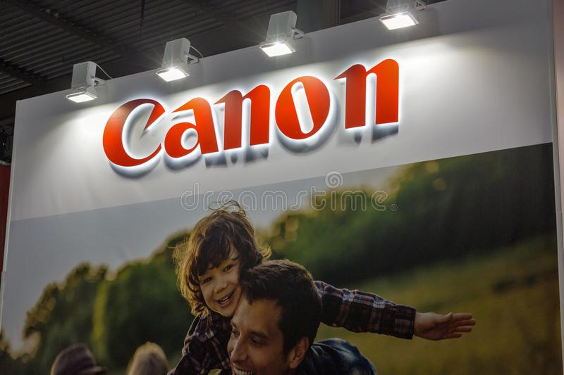 Canon booth during CEE 2017 in Kiev, Ukraine stock photography