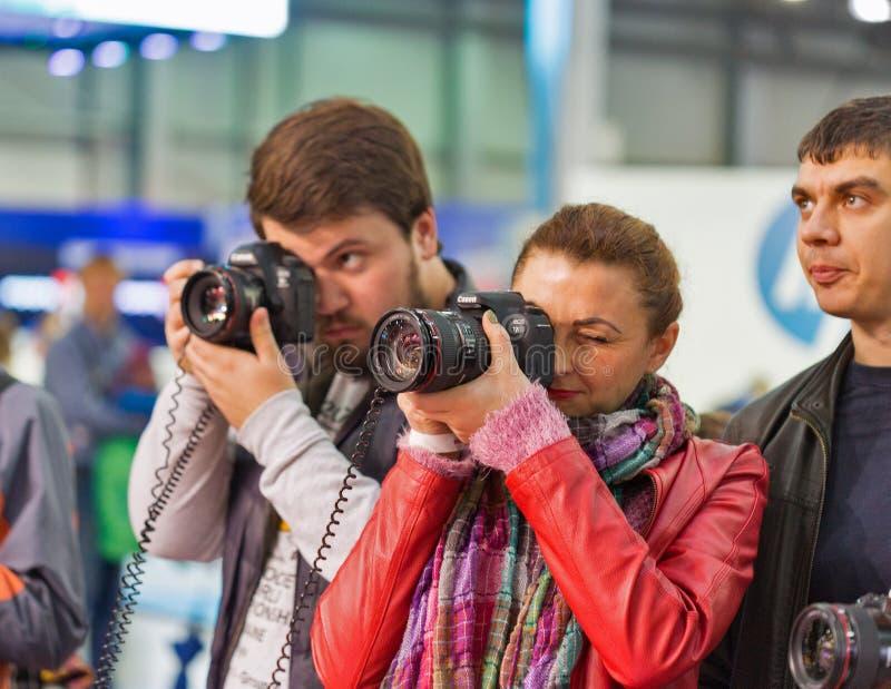 Canon budka podczas CEE 2017 w Kijów, Ukraina zdjęcia royalty free