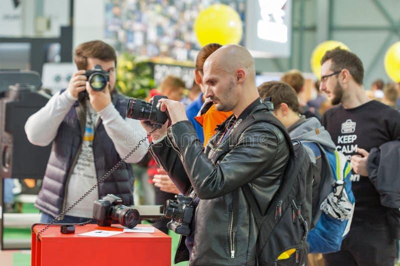 Canon budka podczas CEE 2017 w Kijów, Ukraina fotografia stock
