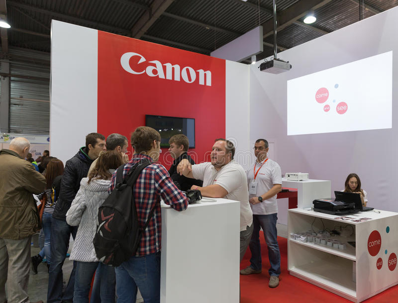 Canon company booth at CEE 2015, the largest electronics trade s royalty free stock photography
