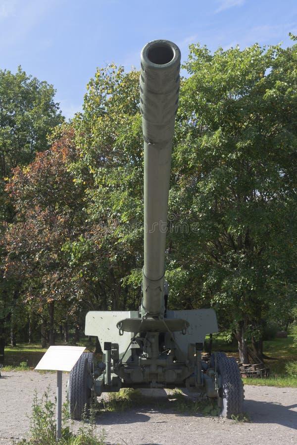 Canon de longue portée Hyacinth-B 2A36 152 mm à Victory Park dans la ville de Vologda photo stock