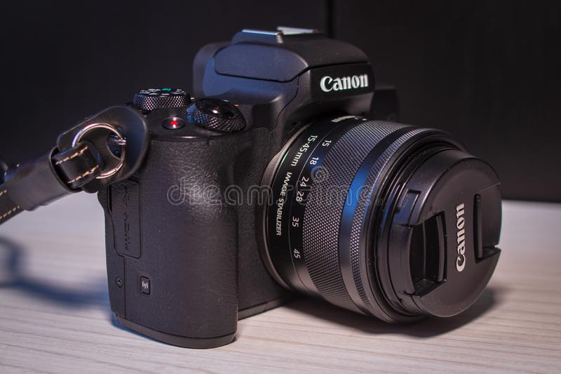 Canon eos m50 digital mirrorless camera stock photography